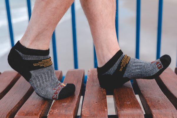 Ankle sock possum merino model walking bench