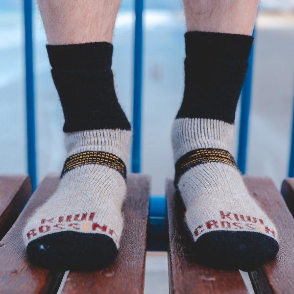 Boot sock possum merino natural model bench