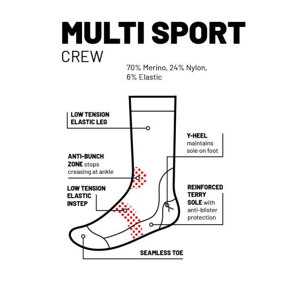 multisport crew sock features